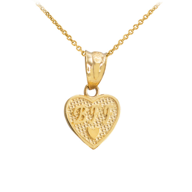Gold 'BFF' Heart Charm Necklace