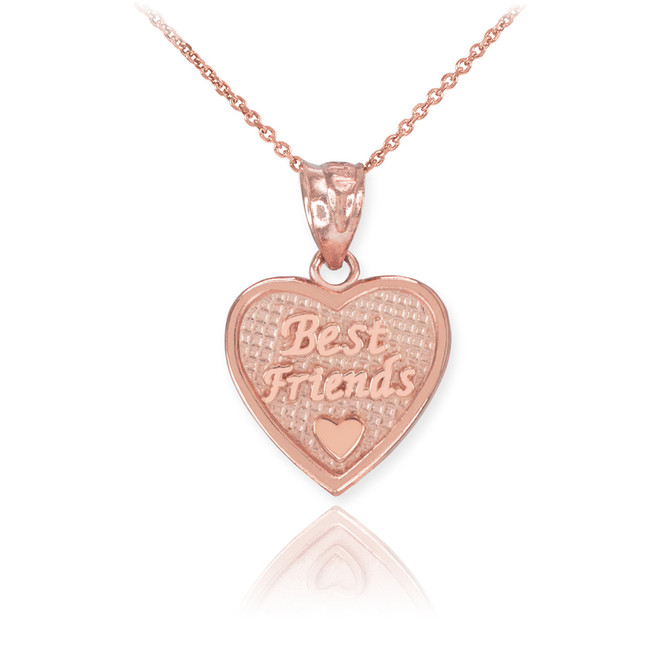 Rose Gold 'Best Friends' Heart Charm Necklace