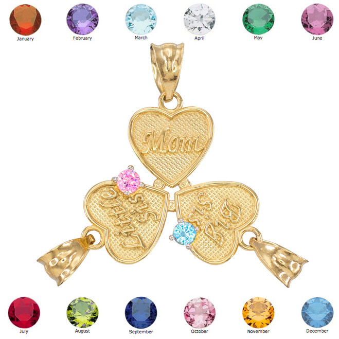 3pc Gold 'Mom' 'Big Sis' 'Little Sis' Dual CZ Birthstone Heart Charm Set