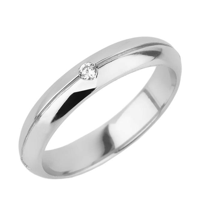 Sterling Silver Diamond Wedding Band