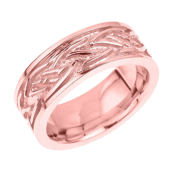 Solid Rose Gold Celtic Knot Unisex Wedding Band