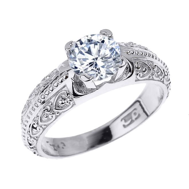 White Gold Art Deco CZ Solitaire Engagement Ring