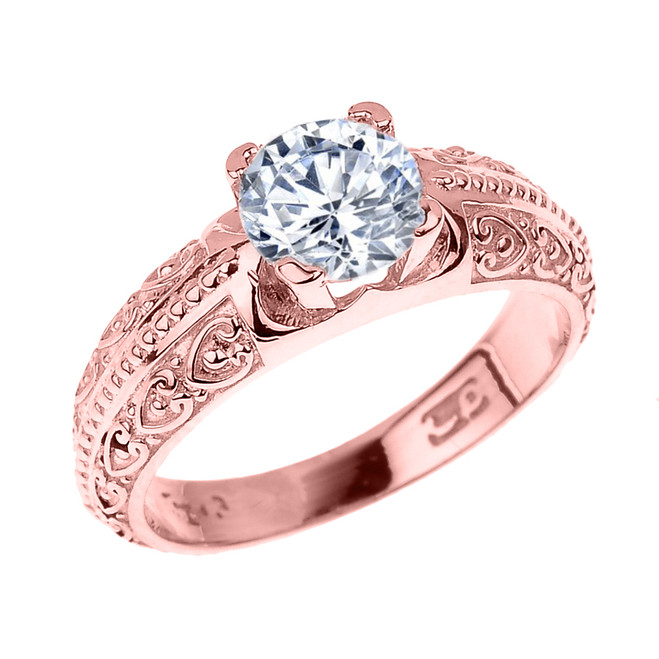 Rose Gold Art Deco CZ Solitaire Engagement Ring