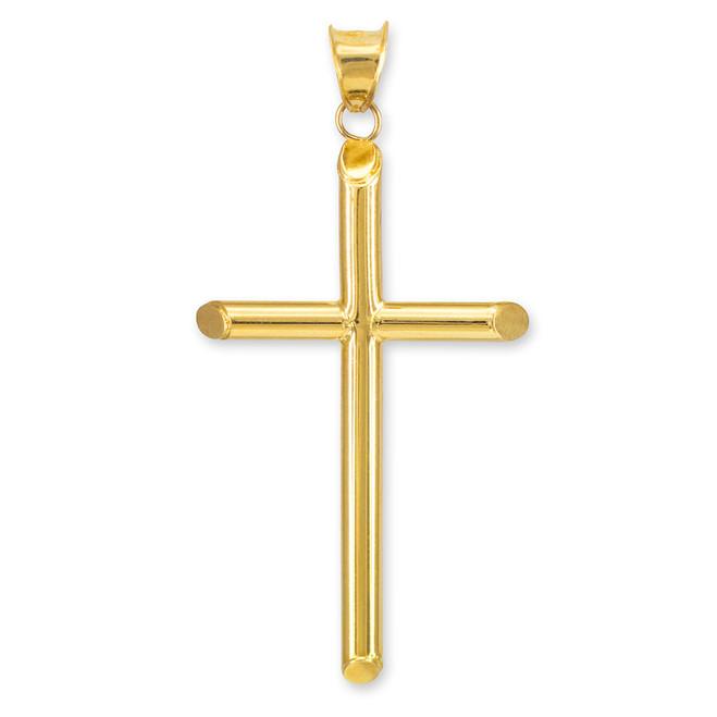 Polished Gold Tube Cross Pendant