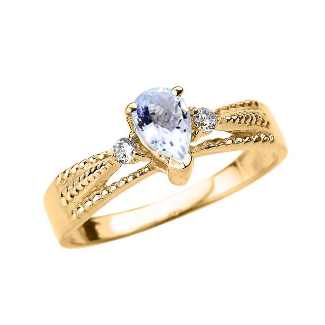 Yellow Gold Aquamarine and Diamond Ladies Ring