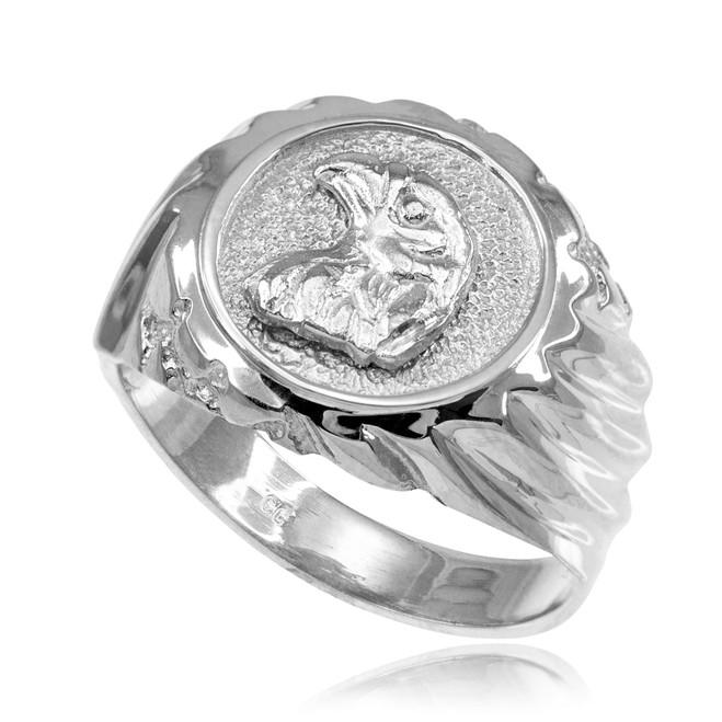 White Gold Eagle Head Men's Ring