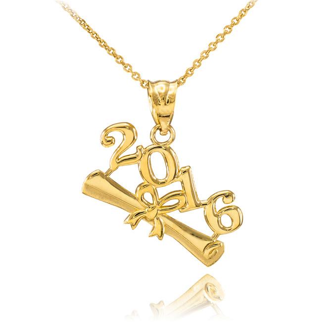 2016 Class Graduation Gold Pendant Necklace