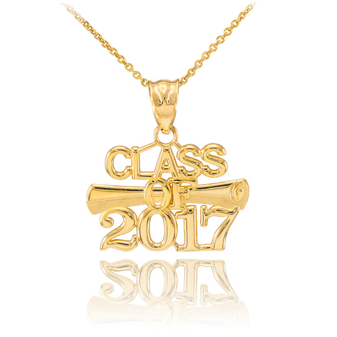 Gold 'CLASS OF 2017' Graduation Charm Pendant Necklace
