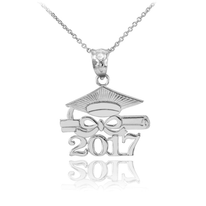 "White Gold ""CLASS OF 2017"" Graduation Pendant Necklace"