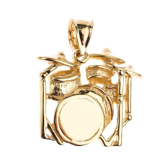 Gold Drum Set Pendant Necklace
