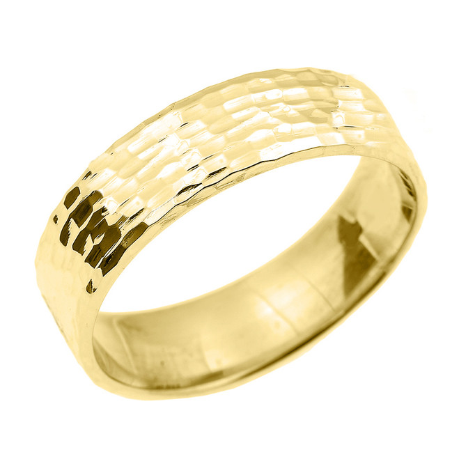 Yellow Gold Hammered Unisex Wedding Band 7.0 MM