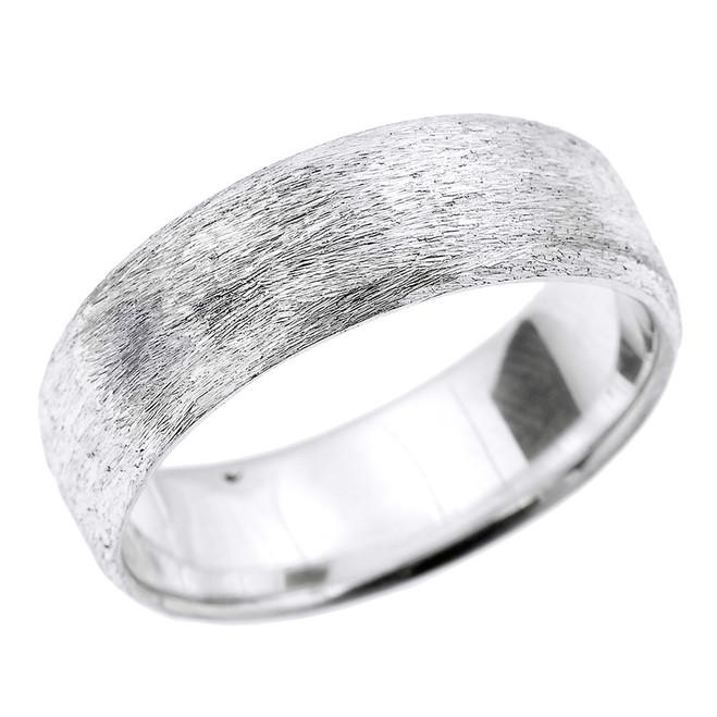 White Gold Satin Finished Unisex Wedding Band 7.2 MM