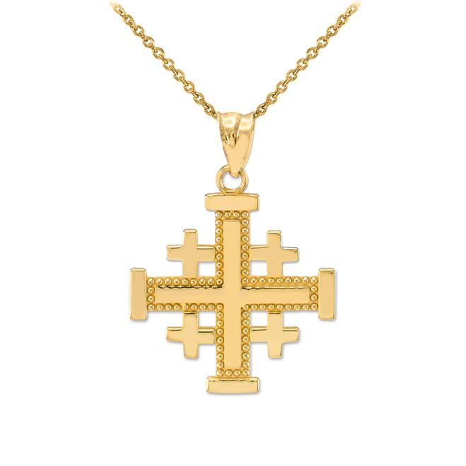 Yellow Gold Jerusalem Cross Pendant Necklace