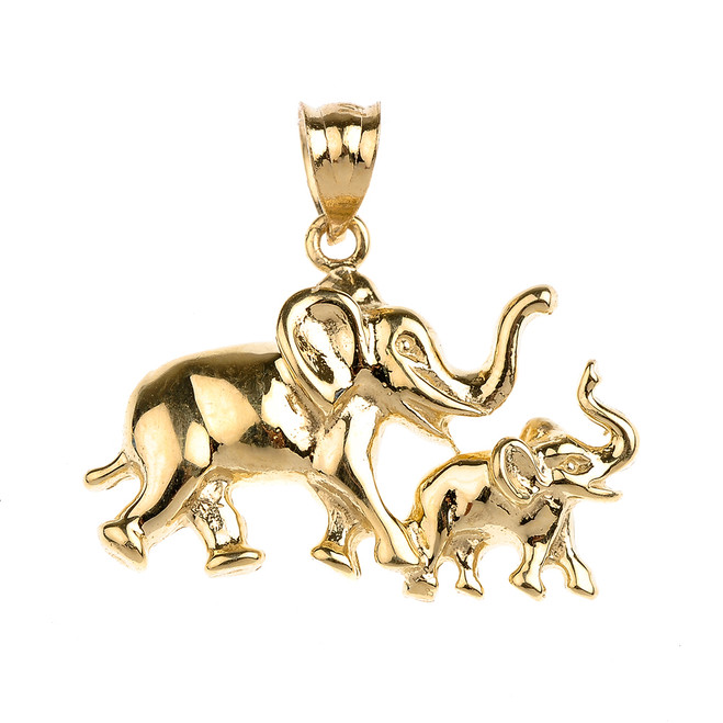 Gold Mother and Child Lucky Elephant Pendant Necklace