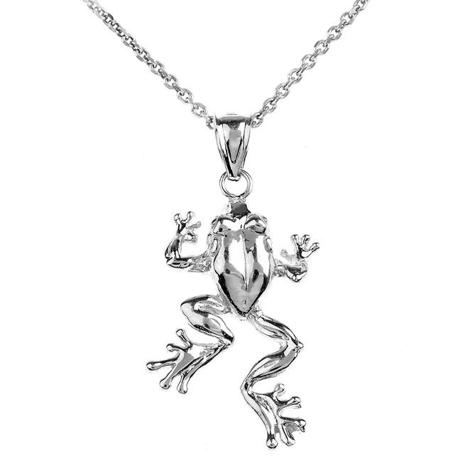 Polished White Gold Frog Pendant Necklace