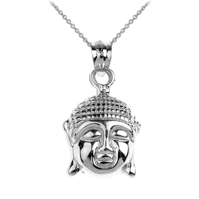 925 Sterling Silver Buddha Head Charm Pendant Necklace