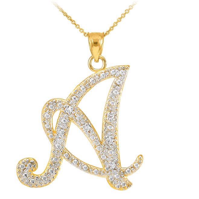 "14k Gold Letter Script ""A"" Diamond Initial Pendant Necklace"