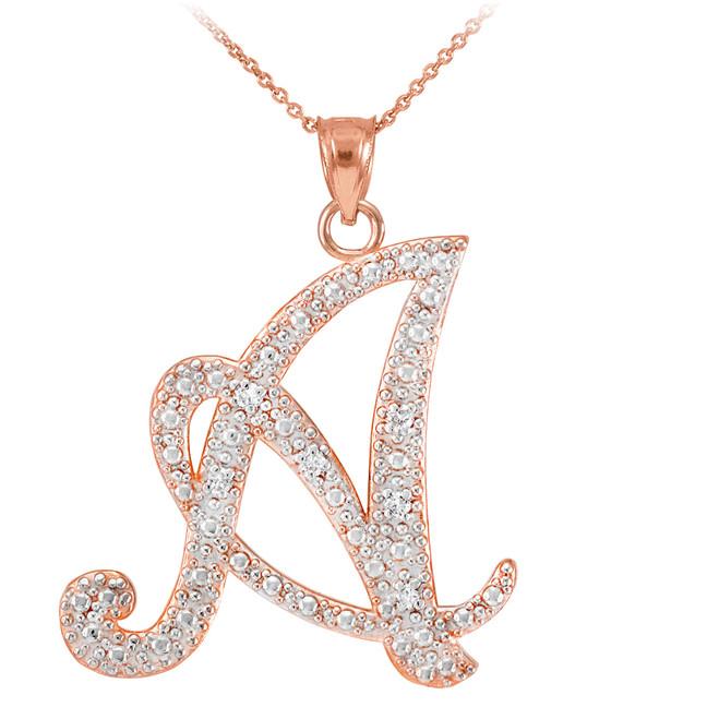 """14k Rose Gold Letter Script """"A"""" Diamond Initial Pendant Necklace"""