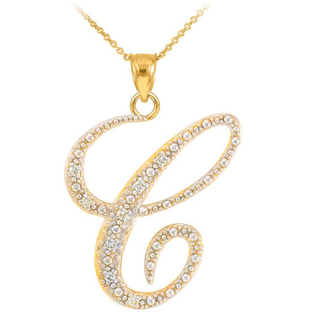 """14k Gold Letter Script """"C"""" Diamond Initial Pendant Necklace"""