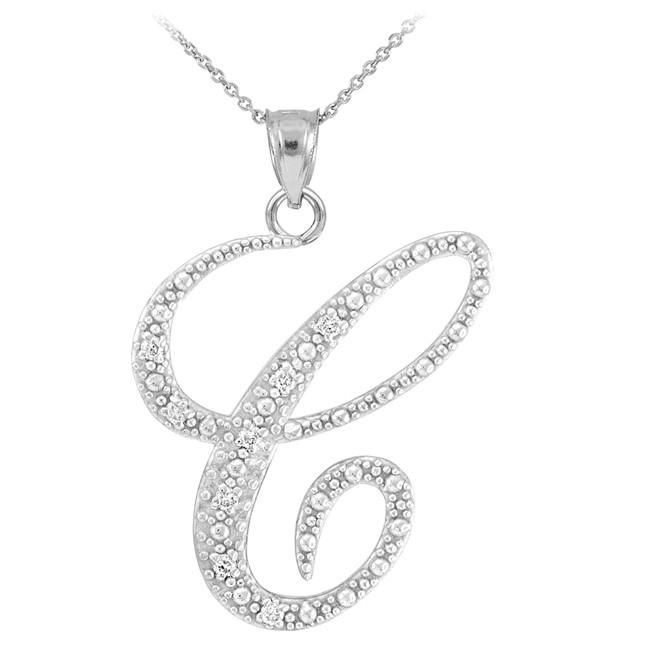 """14k White Gold Letter Script """"C"""" Diamond Initial Pendant Necklace"""