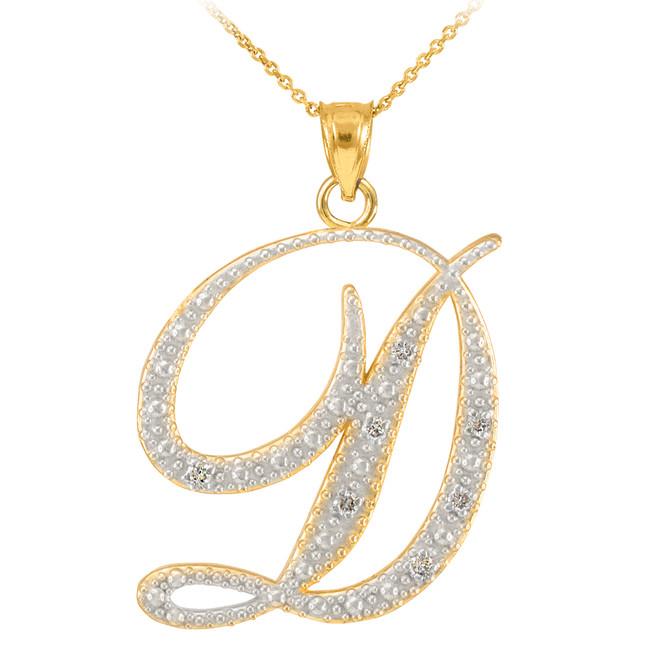 """14k Gold Letter Script """"D"""" Diamond Initial Pendant Necklace"""