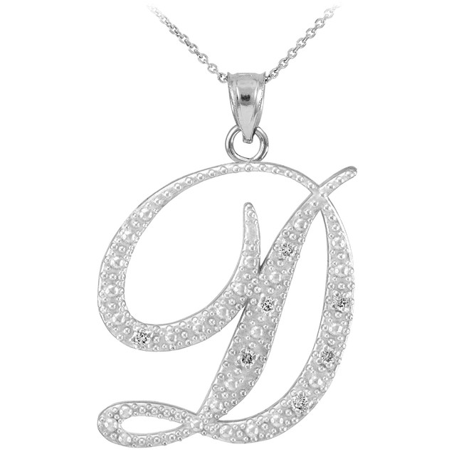 "Sterling Silver Letter Script ""D"" CZ Initial Necklace"