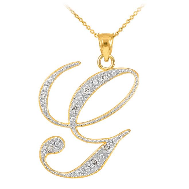 """14k Gold Letter Script """"G"""" Diamond Initial Pendant Necklace"""