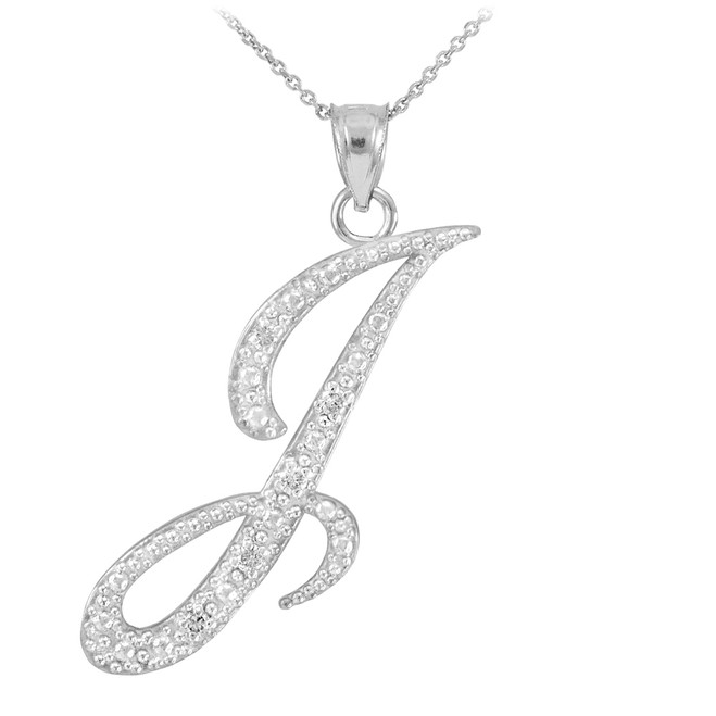 "14k White Gold Letter Script ""I"" Diamond Initial Pendant Necklace"