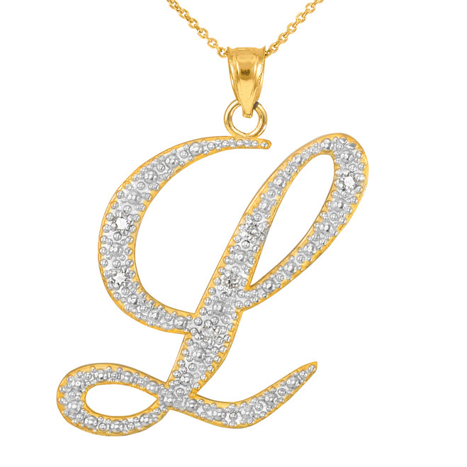 """14k Gold Letter Script """"L"""" Diamond Initial Pendant Necklace"""