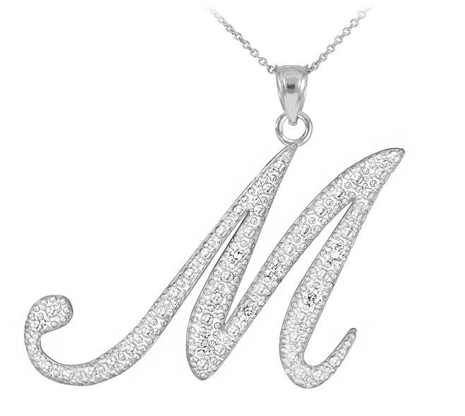 "Sterling Silver Letter Script ""M"" CZ Initial Necklace"