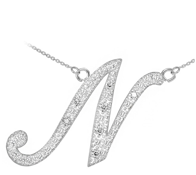 "14k White Gold Letter Script ""N"" Diamond Initial Necklace"