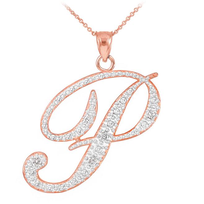 """14k Rose Gold Letter Script """"P"""" Diamond Initial Pendant Necklace"""