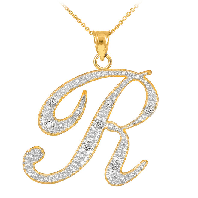 "14k Gold Letter Script ""R"" Diamond Initial Pendant Necklace"