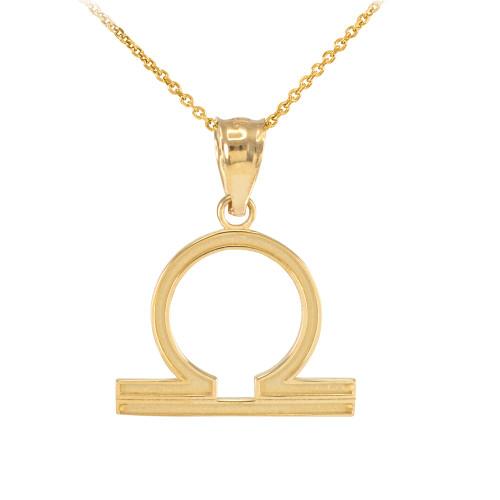 Gold Libra Zodiac Sign Pendant Necklace