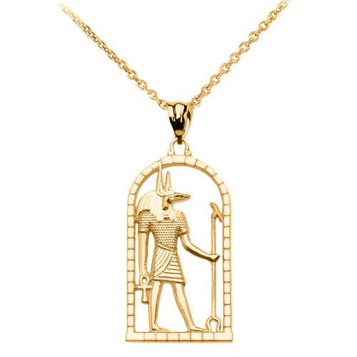 Yellow Gold Egyptian Anubis Pendant Necklace  Yellow Gold Egy...