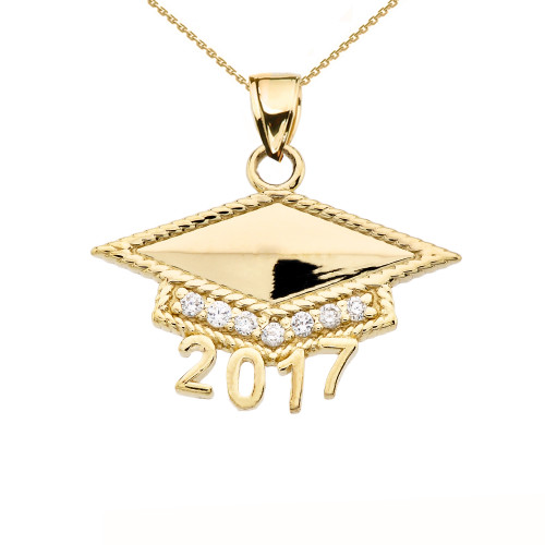 Yellow Gold Class Of 2017 Graduation Cap With Cubic