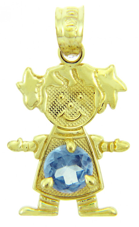 Gold Baby Charms And Pendants Cz Light Blue Girl