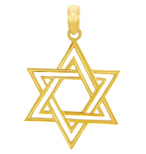 Jewish charms and pendants double gold star of david pendant for Star of david jewelry wholesale