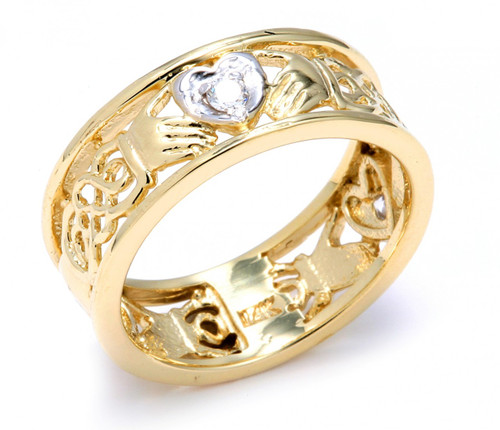 Two Tone Gold Diamond Claddagh Wedding Band With Celtic Knot