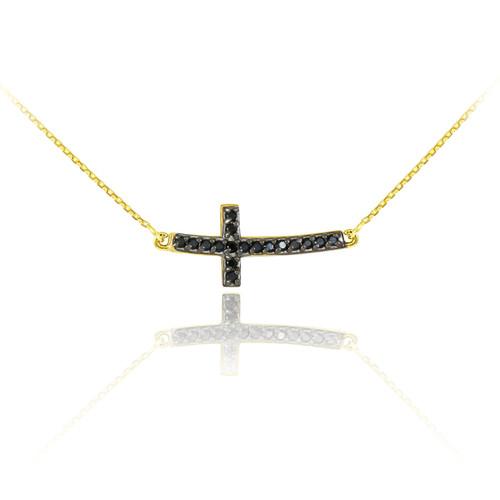 Sideways Curved Cross Necklace: 14K Gold Sideways Curved Cross Black CZ Cute Necklace