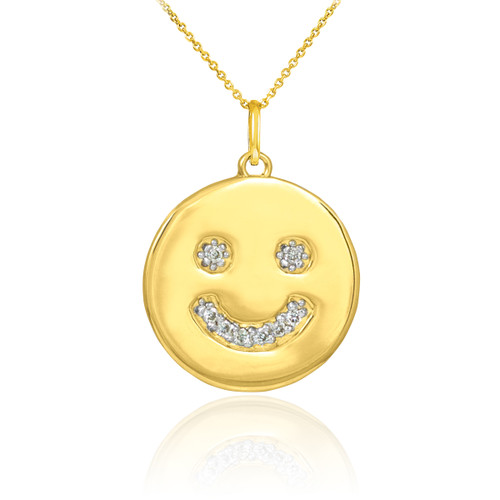 Smiley Face Necklace Smiley Face Pendant 14k Gold
