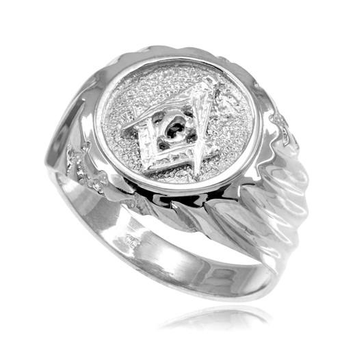 white gold masonic s ring