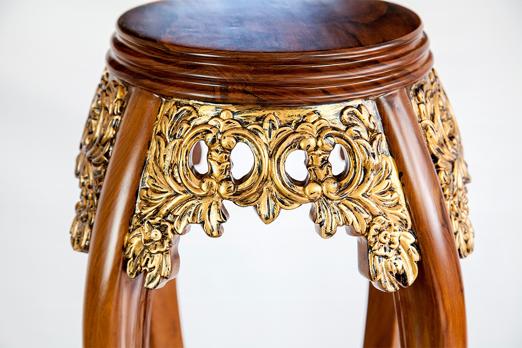Teak Furniture Gilted Oriental Coffee Table Plant Stand
