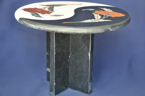 Floral Black And White Marble Inlay Table
