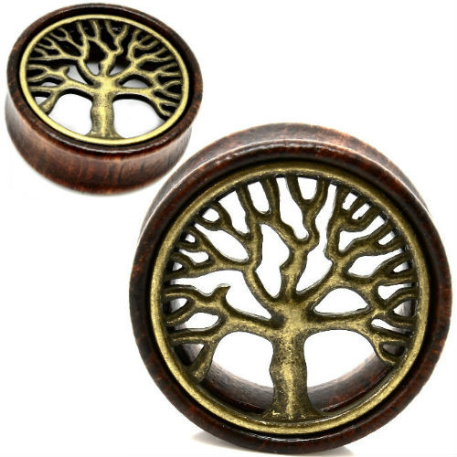 Tree Of Life Wood and Brass  Ear Gauges