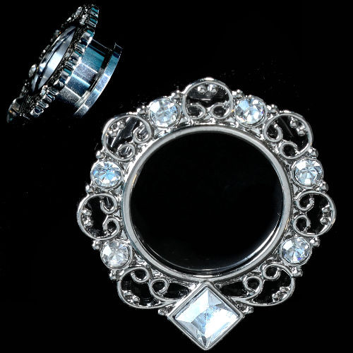 PAIR-Stainless Steel Silver Ornate  Tunnel Square Bottom CZ Gems-EAR GAUGES-EAR PLUGS