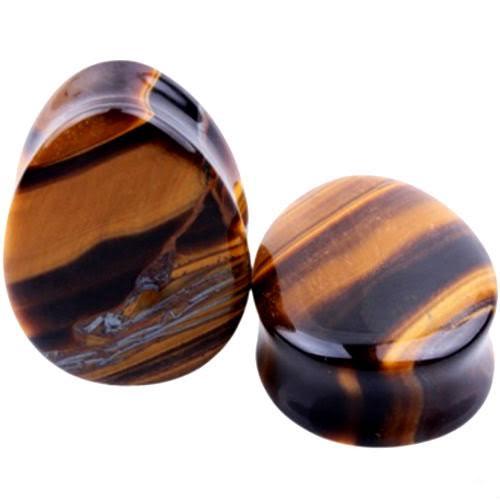 teardrop brown tigers eye stone ear plugs