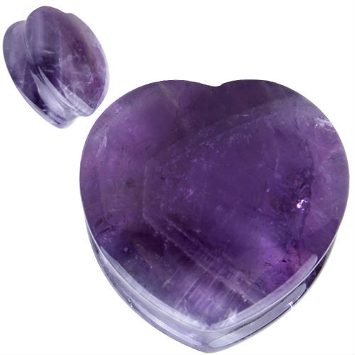 Heart shape Organic Purple Natural Amethyst Stone Ear Gauges