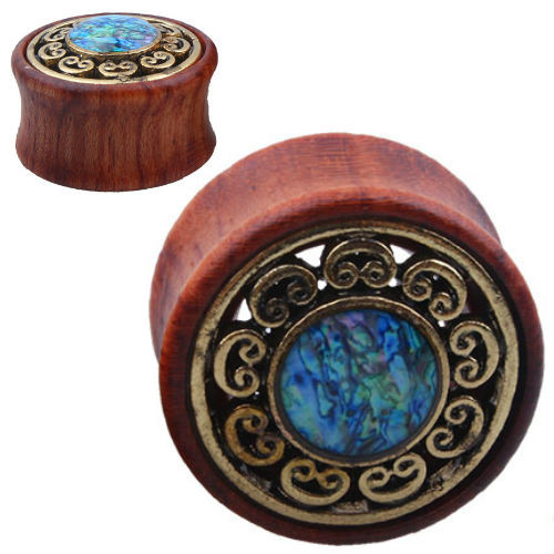 Wood with brass Filigree Blue Mable center Double saddle plugs