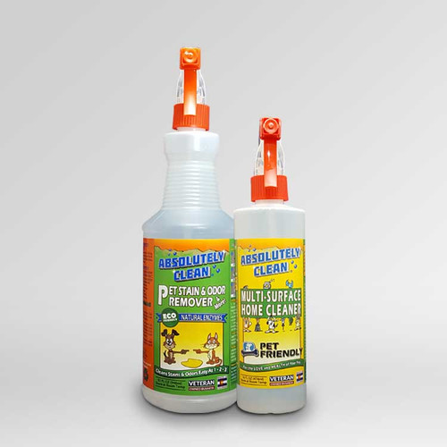 Absolutely Clean® Puppy Pack - 32oz Bottle of Pet Stain & Odor Remover and 16oz Bottle of Pet Friendly Home Cleaner.